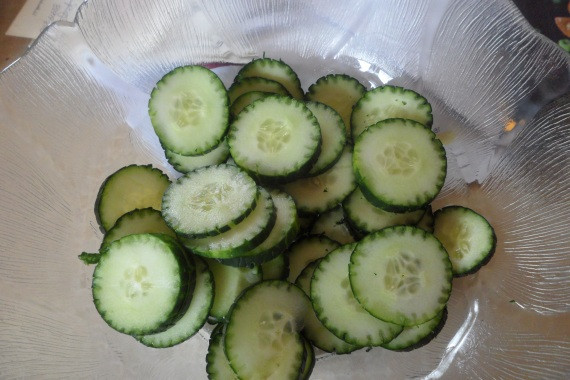 This is what your chopped cucumbers should look like.  Place them in a bowl after chopping.